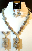 Mixed Colored Marble Statement Necklace with Reversible Pendant