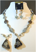 Sliced Banded Agate Statement Necklace with Reversible Pendant