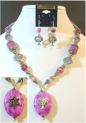 Pink Crazy Lace Statement Necklace with Reversible Pendant
