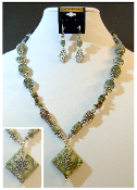 Green Moss Agate Statement Necklace with Reversible Pendant