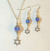 Blue Crystal Necklace/Earring Set with Star of David Charms