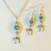 AB Teal Green Crystal Necklace/Earring Set with Chai Charm
