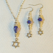 Iridescent Purple Crystal Necklace/Earring Set w/Star of David