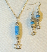 Blue Crazy Lace Agate Necklace/Earring Set with Star of David