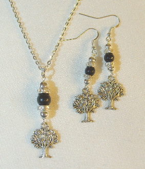 Black Onyx Necklace/Earring Set with Tree of Life Charms