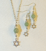 Aventurine Necklace/Earring Set with Star of David Charms