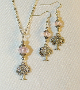 Light Pink Crystal Necklace/Earring Set with Tree of Life Charms