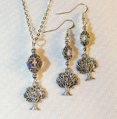 AB Smokey Grey Crystal Necklace/Earring Set with Tree of Life