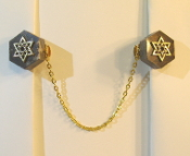Marble Hexagon Tallit Clips with Gold Star of David Charms