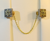 Marble Tallit Clips with Gold Star of David