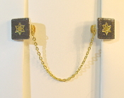 Black Ceramic Tile with Gold Star of David Tallit Clips