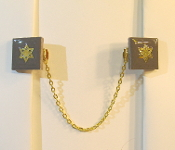 Charcoal Ceramic Tile Tallit Clips with Gold Star of David