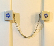 White Ceramic Tile Tallit Clip with Blue Star of David