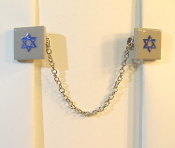 Gray Ceramic Tile Tallit Clips with Blue Star of David