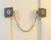 Charcoal Ceramic Tile Tallit Clips with Silver Star of David