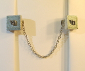 Silver Ceramic Tile Tallit Clips with Chai Charm