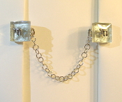 Wavy Silver Backing Glass Tallit Clips with Chai Charms