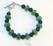 Green Howlite and Black Onyx Stone Bracelet