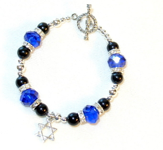 Sapphire Blue Crystal and Black Onyx Bracelet