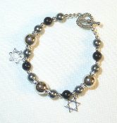 Black Onyx, Silver Pearl, and Steel Beaded Bracelet