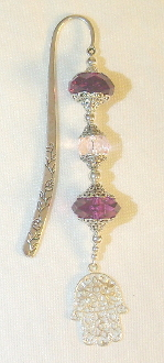 Purple and Clear Crystal Bookmark