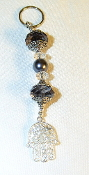 Charcoal Crystals and Pearls Key Chain
