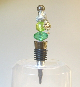 Green and Lime with Sparkle Bead Wine Bottle Stopper