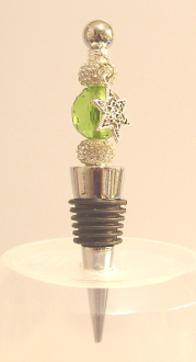 Green Crystal with Sparkle Beads Wine Bottle Stopper