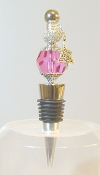 Deep Pink Crystal with Sparkle Bead Wine Bottle Stopper
