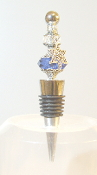 Clear and Sapphire Crystal Wine Bottle Stopper