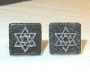 Silver Star of David on Black Ceramic Tile Cuff Links