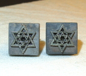 Silver Star of David on Slate Cuff Links