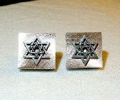 Silver Star of David on Brushed Copper Cuff Links