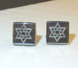 Silver Star of David on Brown, Mirror-Finish Glass Cuff Links
