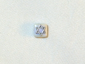 White Ceramic with Silver Star of David Tie Tack