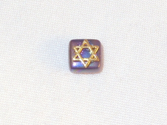 Iridescent Black Ceramic with Gold Star of David Tie Tack