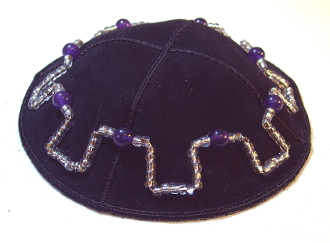 Amethyst with Silver Seed Beads Suede Kippah