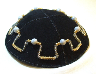 Botswana Agate with Gold and Silver Seed Beads Suede Kippah