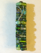 Green Beaded Mezuzah