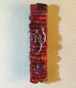 Red Beaded Mezuzah