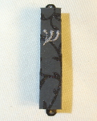 Black Threads on Charcoal Mezuzah