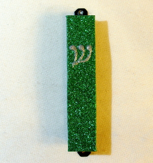 Green and Silver Mezuzah