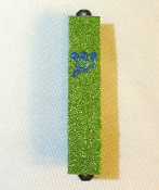 Lime and Blue Bling Mezuzah
