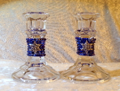 Beaded Candlestick Holders - Indigo Blues