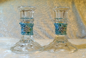 Beaded Candlestick Holders - Aqua