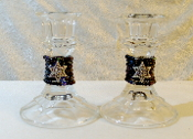 Beaded Candlestick Holders - Mixed Blacks