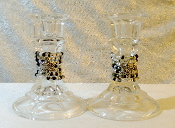 Beaded Candlestick Holders - Silver, Charcoal and Black