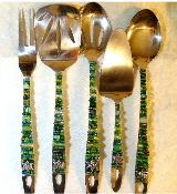 Beaded Serving Utensils - Green Tree of Life