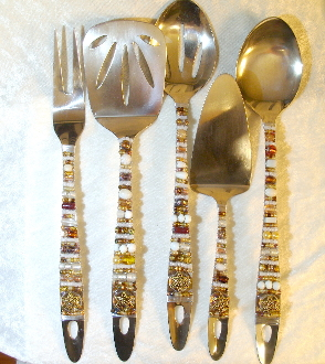Beaded Serving Utensils - Milk and Honey