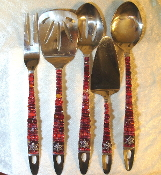 Beaded Serving Utensils - Pomegranate